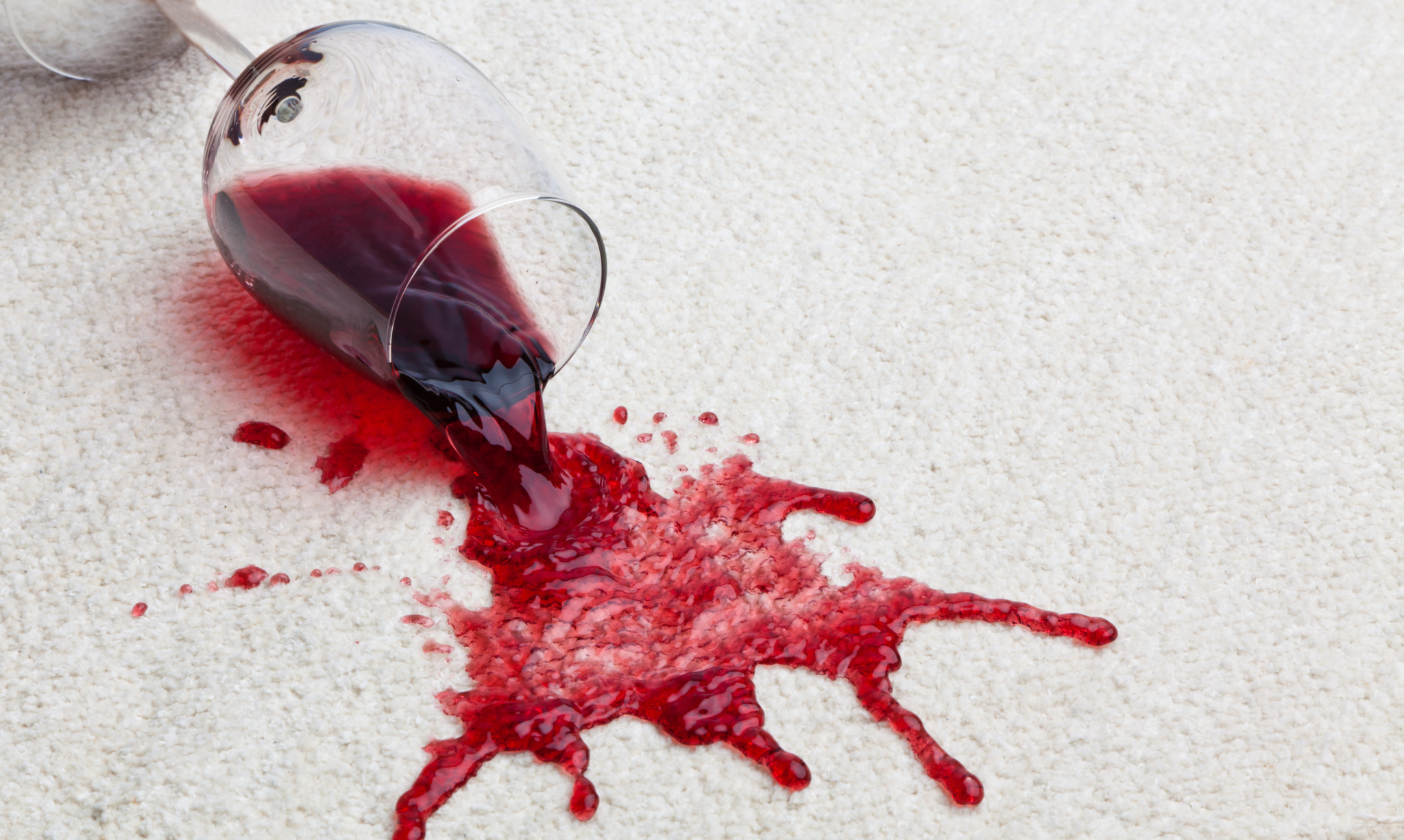 Red wine spilled on the carpet that needs to be cleaned before it leaves a stain.