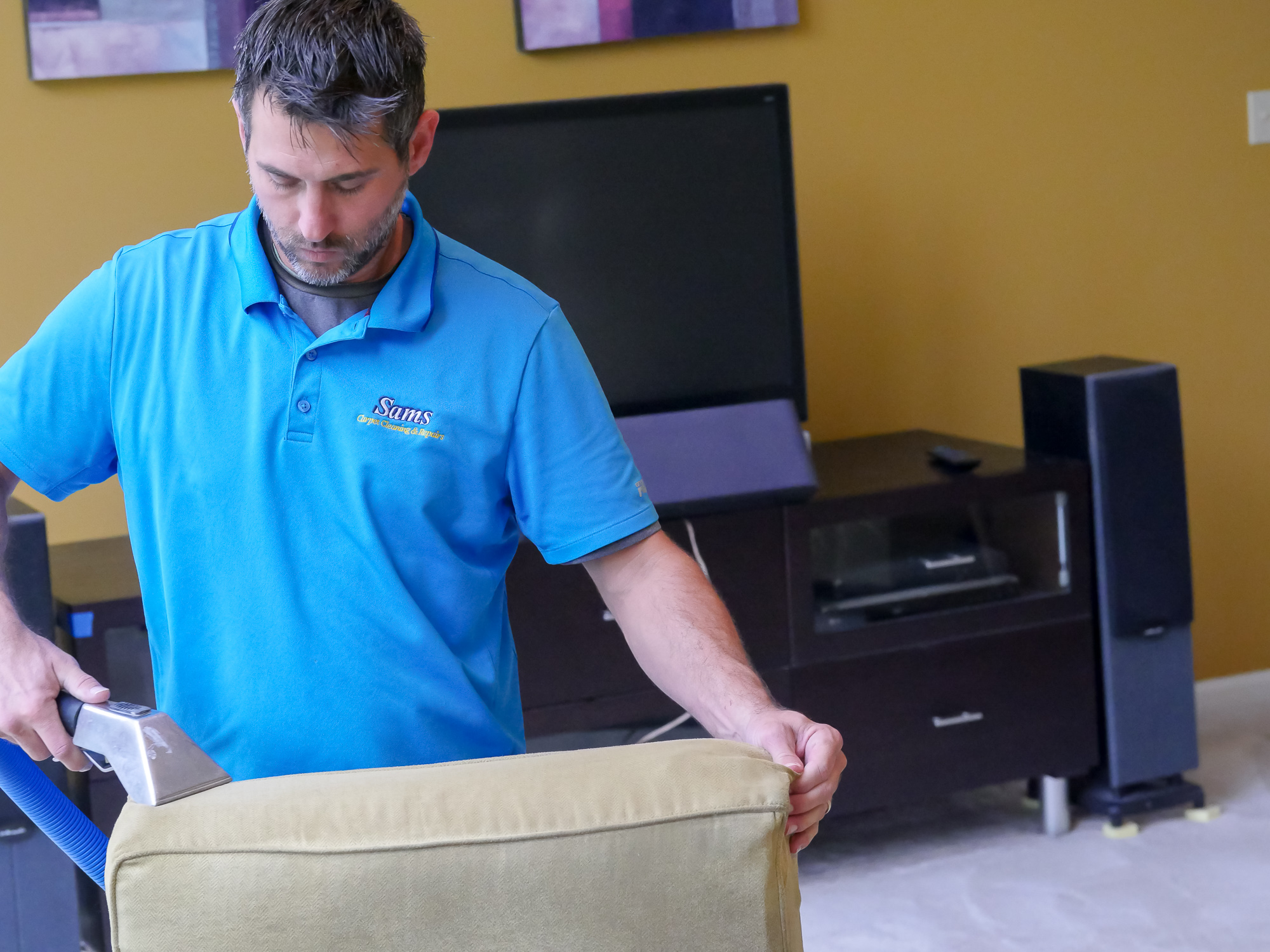 Sams professional cleaning the upholstery of the sofa